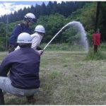 地下式消火栓を使用した消火訓練